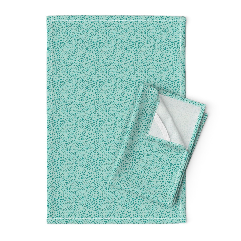 Orpington Tea Towels featuring Pebbles - Mint with Teal by hettiejoan
