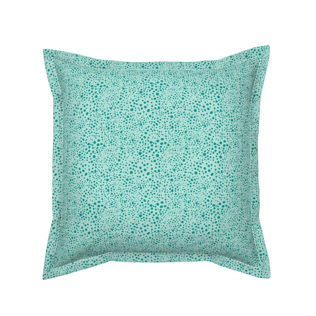 Serama Throw Pillow featuring Pebbles - Mint with Teal by hettiejoan