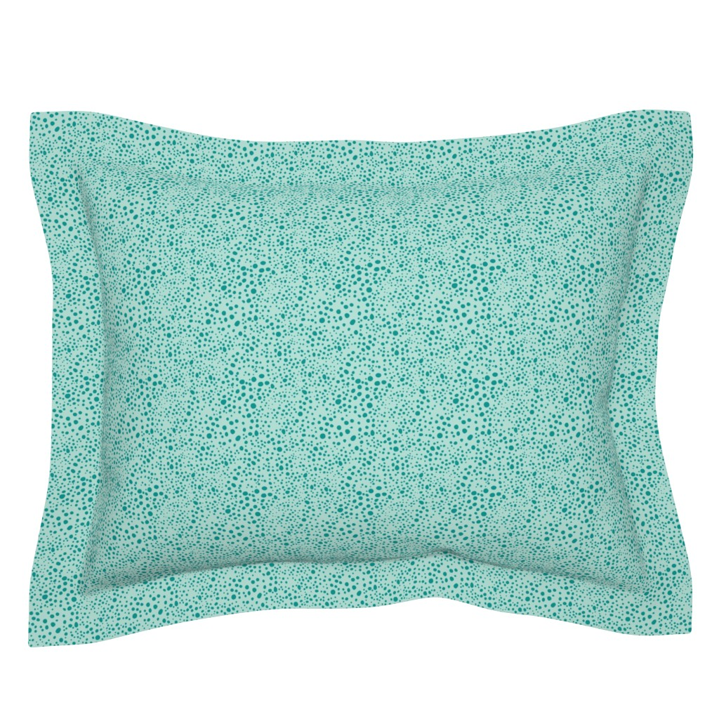 Sebright Pillow Sham featuring Pebbles - Mint with Teal by hettiejoan