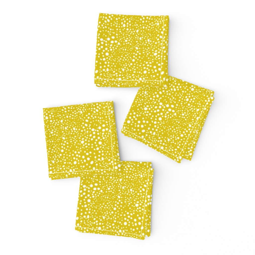 Frizzle Cocktail Napkins featuring Pebbles - Mustard with White by hettiejoan