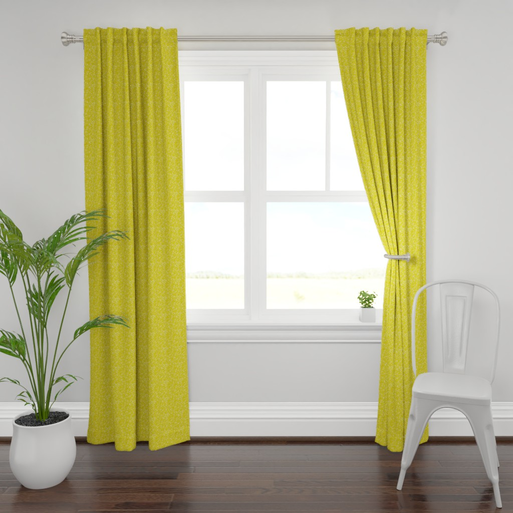Plymouth Curtain Panel featuring Pebbles - Mustard with White by hettiejoan