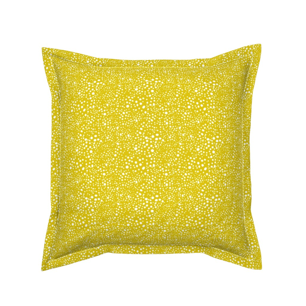 Serama Throw Pillow featuring Pebbles - Mustard with White by hettiejoan