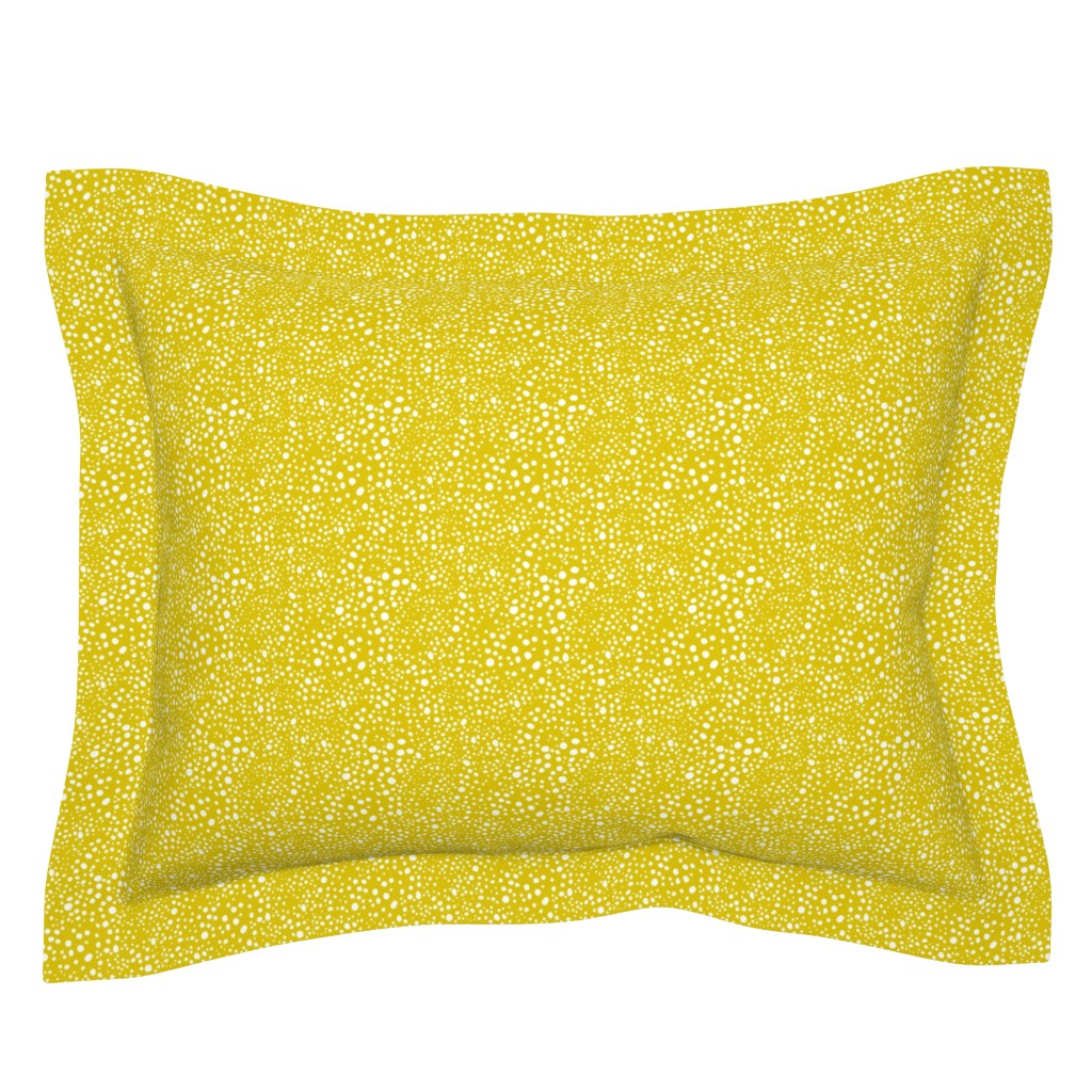 Sebright Pillow Sham featuring Pebbles - Mustard with White by hettiejoan