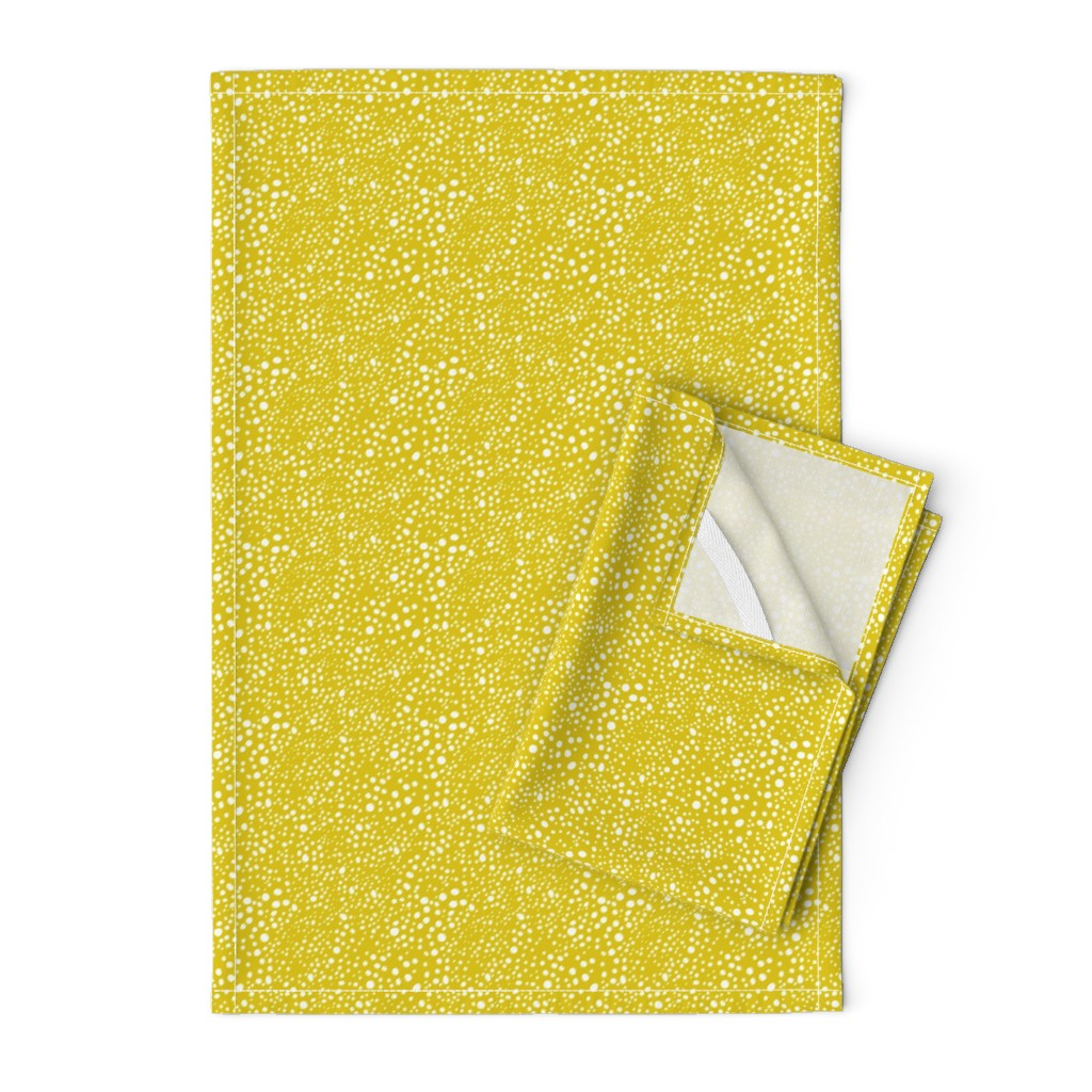 Orpington Tea Towels featuring Pebbles - Mustard with White by hettiejoan