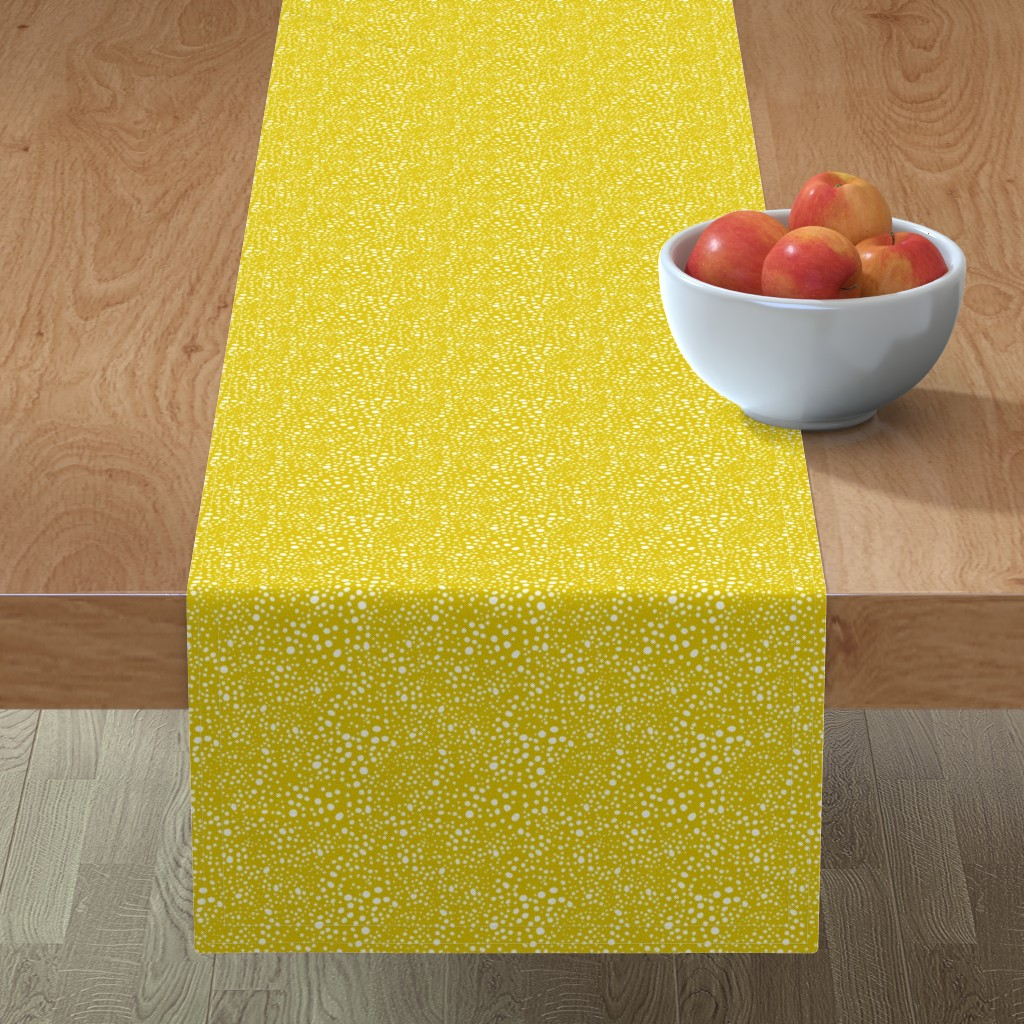 Minorca Table Runner featuring Pebbles - Mustard with White by hettiejoan