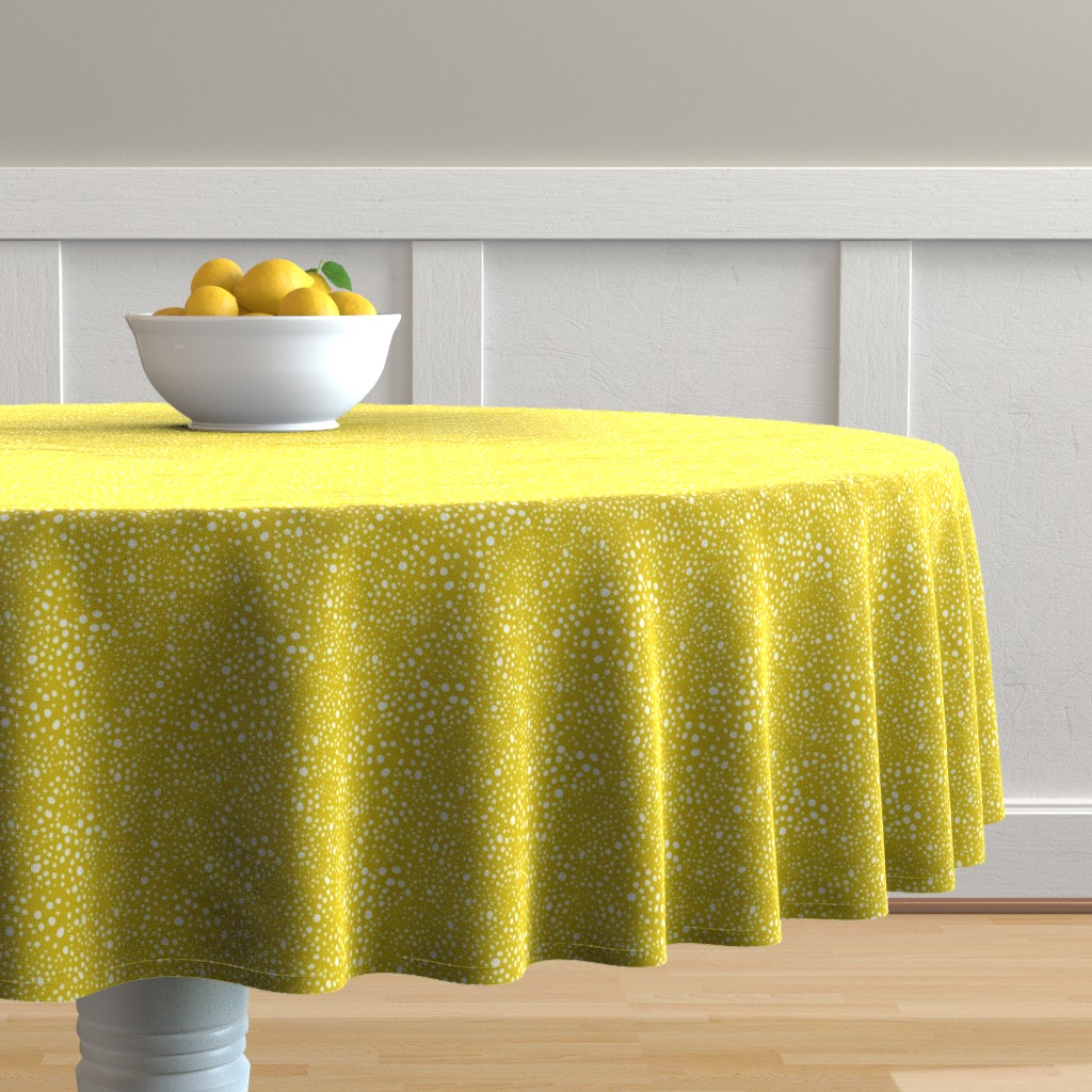 Malay Round Tablecloth featuring Pebbles - Mustard with White by hettiejoan