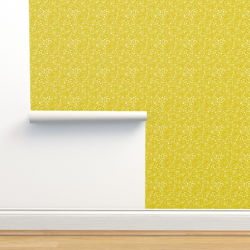 Isobar Durable Wallpaper featuring Pebbles - Mustard with White by hettiejoan