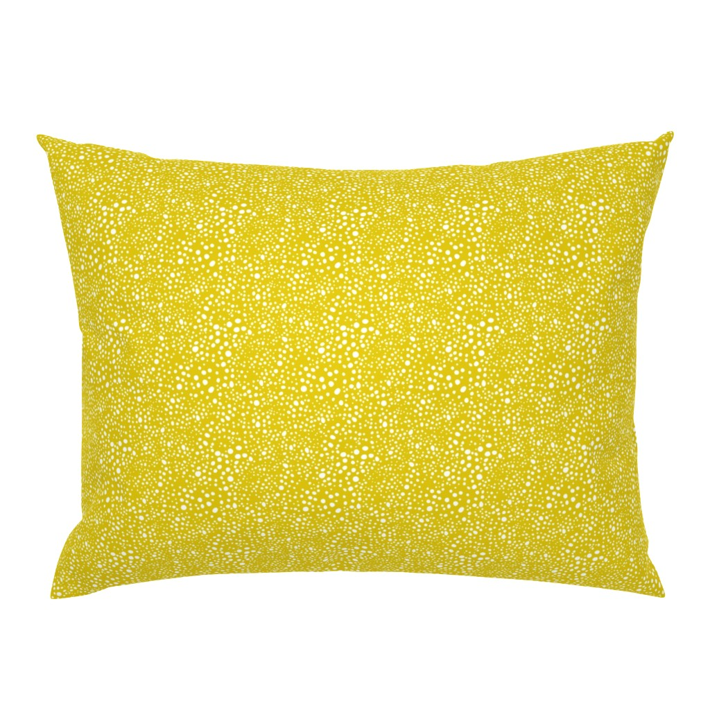 Campine Pillow Sham featuring Pebbles - Mustard with White by hettiejoan