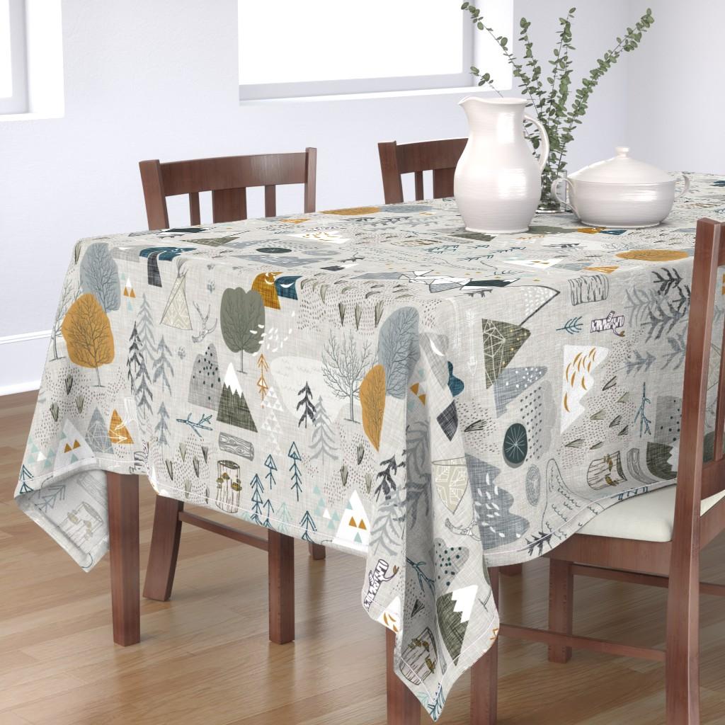 Bantam Rectangular Tablecloth featuring Max's Map  (grey) (JUMBO) by nouveau_bohemian