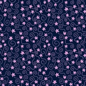 Swirling Stars Orchid and Navy