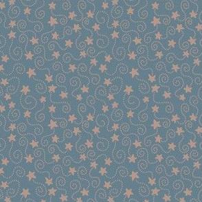 Swirling Stars Blue and Beige