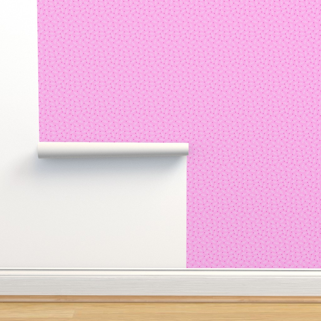 Isobar Durable Wallpaper featuring White Leaves on Pink by phyllisdobbs