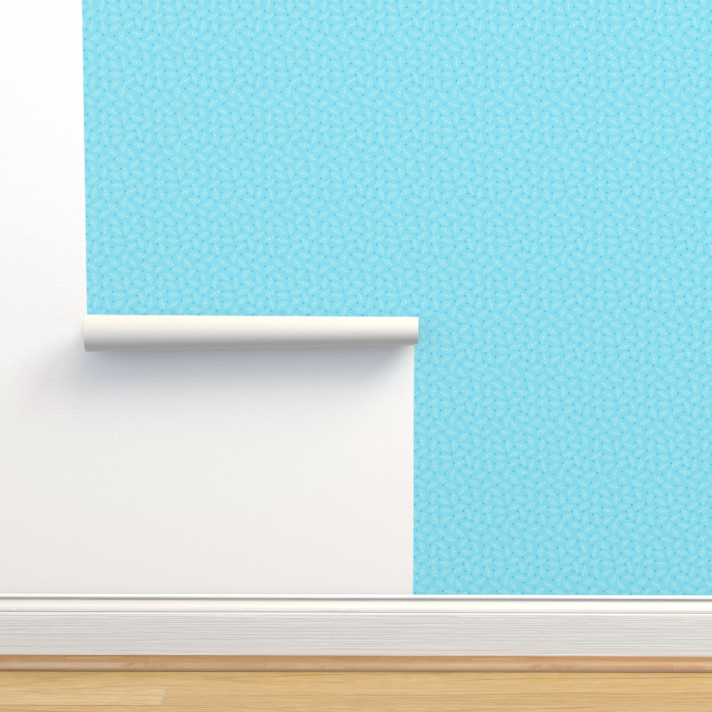 Isobar Durable Wallpaper featuring White Leaves on Turquoise by phyllisdobbs