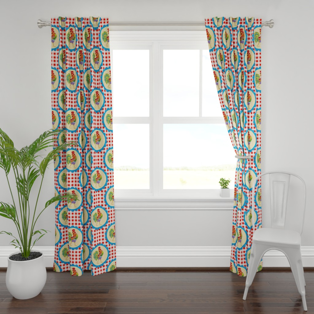 Plymouth Curtain Panel featuring Gingham Rainbow Rooster by patriciasheadesigns