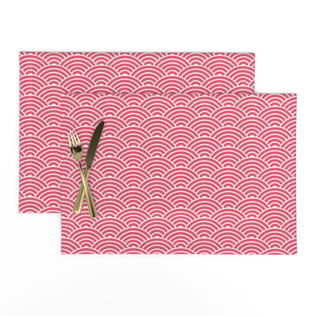 Lamona Cloth Placemats featuring Red Japanese Waves Block Print by matite