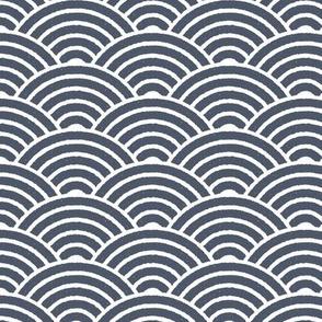 Grey Japanese Waves Block Print