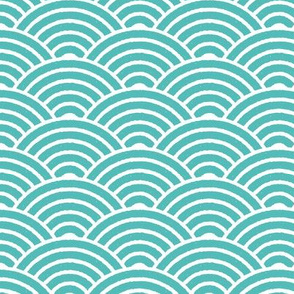 Light Blue Japanese Waves Block Print
