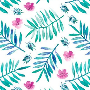 Watercolor palm leaf botanical tropical garden and blossom flowers aqua pink