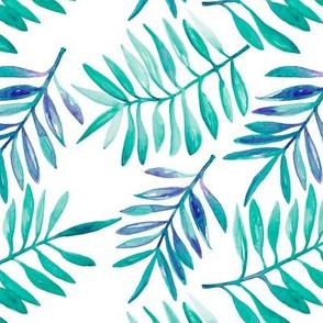 Watercolor painted palm leaf garden lush nature summer blue aqua