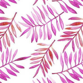 Watercolor painted palm leaf garden lush nature summer pink purple