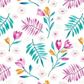 Watercolor floral garden with tulips and lillies summer botanical garden blue pink