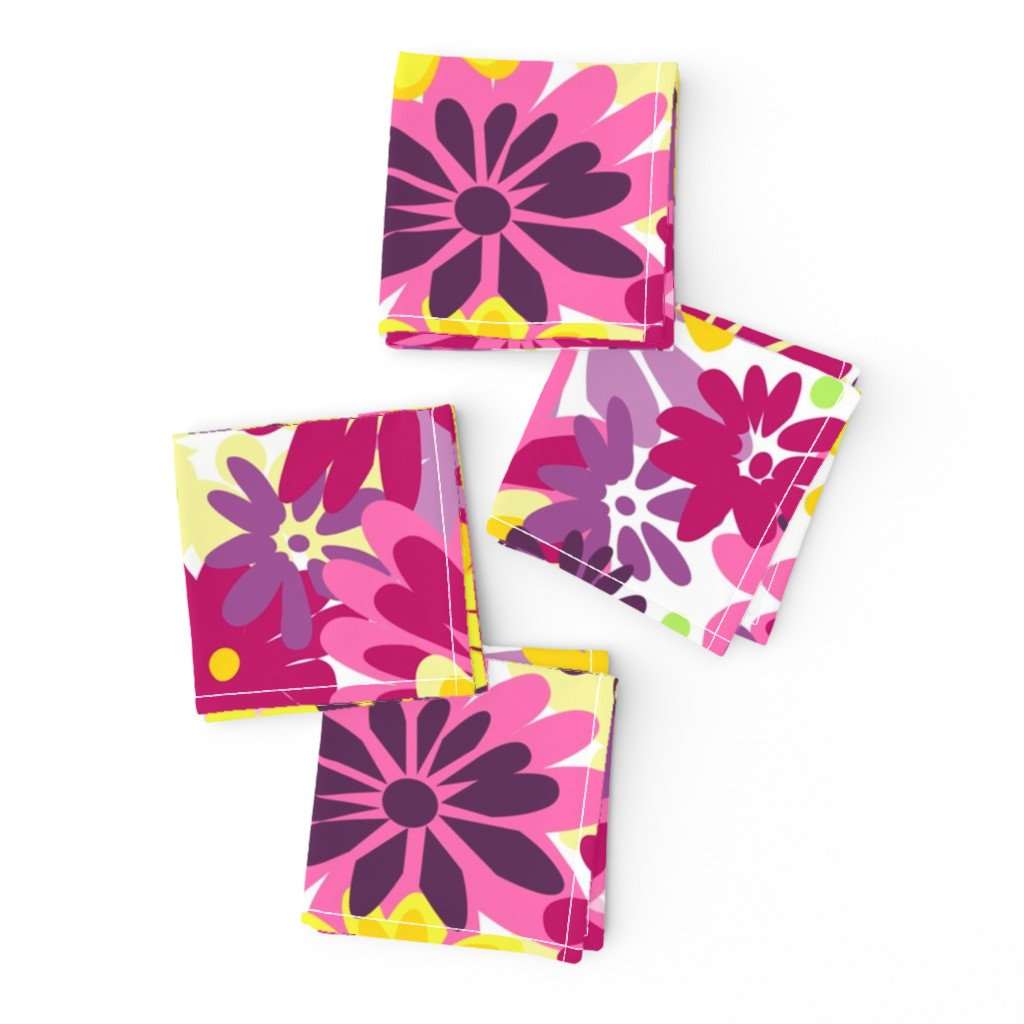 Frizzle Cocktail Napkins featuring Mumtastic summer yellows,pinks by lorloves_design