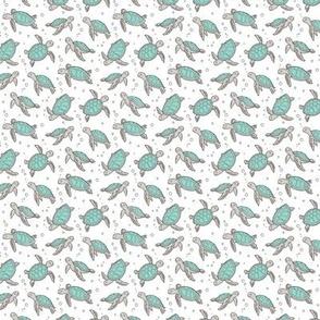 Sea Turtles Nautical Ocean Mint Green on White Tiny Small