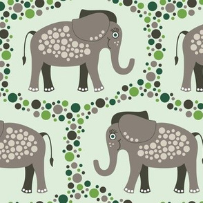 Elephants and Polka Dots (Taupe)