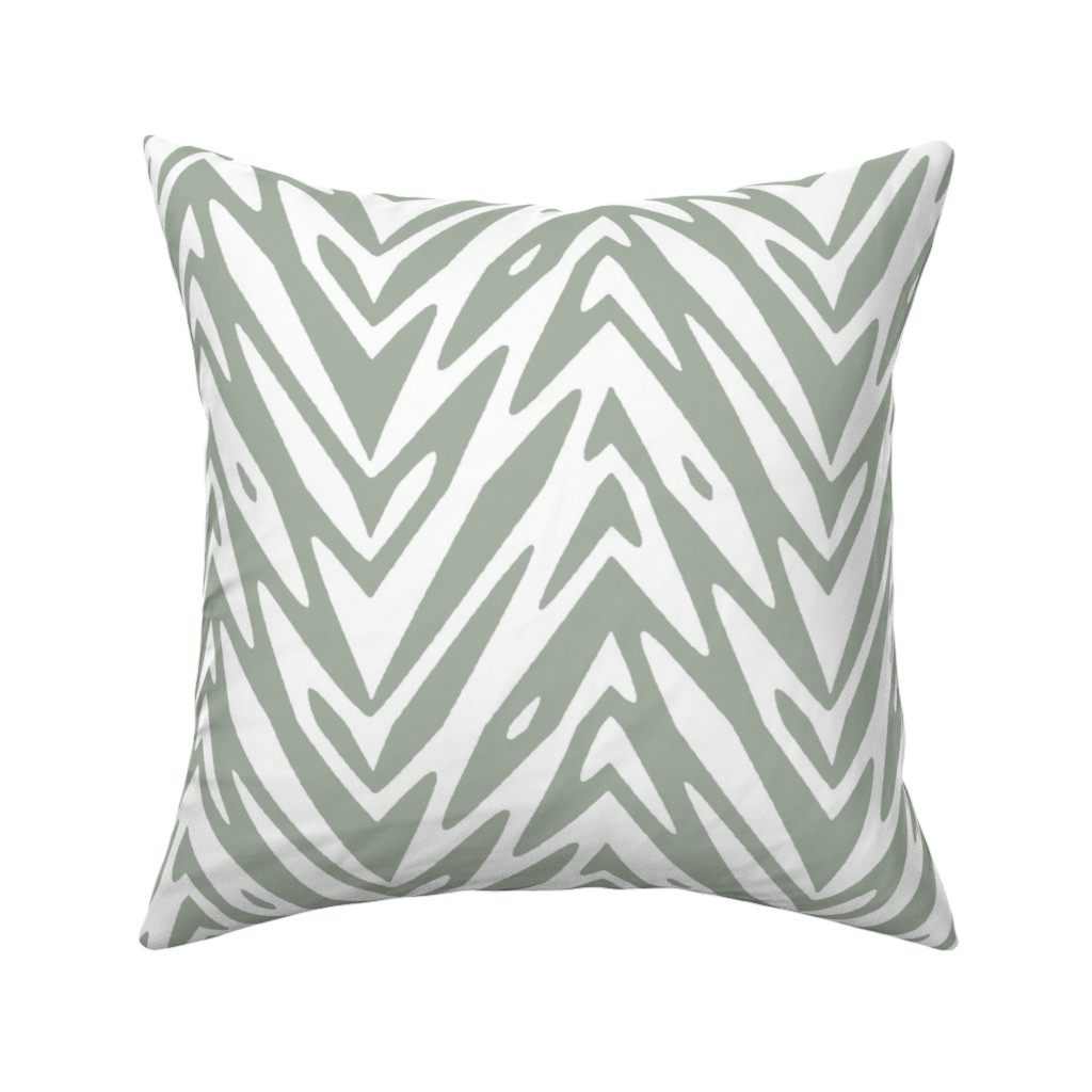 Catalan Throw Pillow featuring large feather zigzag - grey and white by weavingmajor