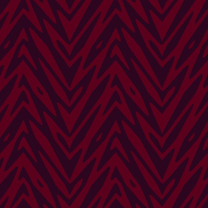 large feather zigzag - maroon and red