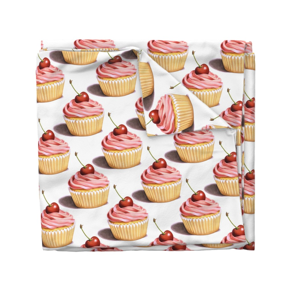 Wyandotte Duvet Cover featuring Large Pink Cupcakes by patriciasheadesigns