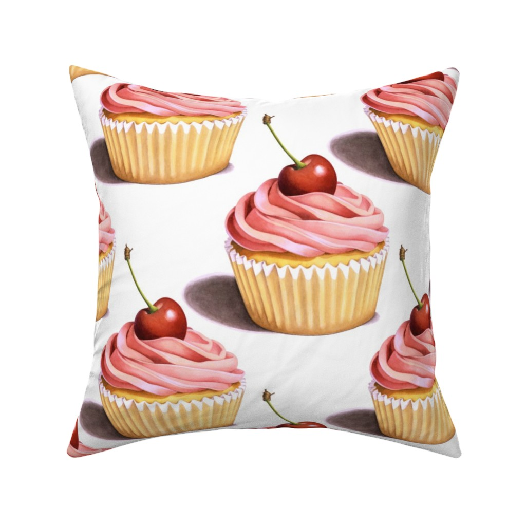 Catalan Throw Pillow featuring Large Pink Cupcakes by patriciasheadesigns