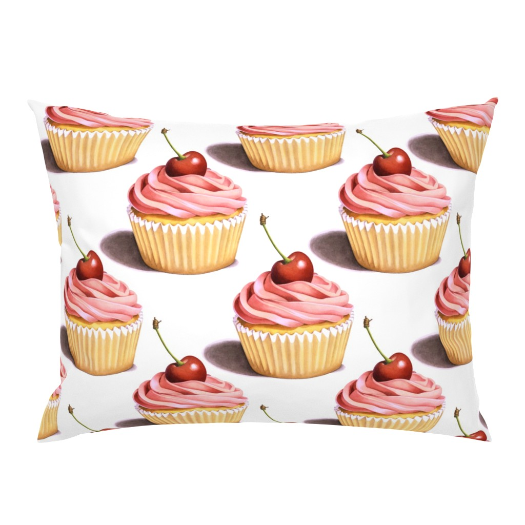 Campine Pillow Sham featuring Large Pink Cupcakes by patriciasheadesigns