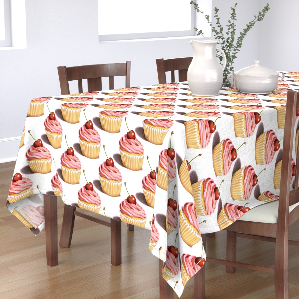 Bantam Rectangular Tablecloth featuring Large Pink Cupcakes by patriciasheadesigns