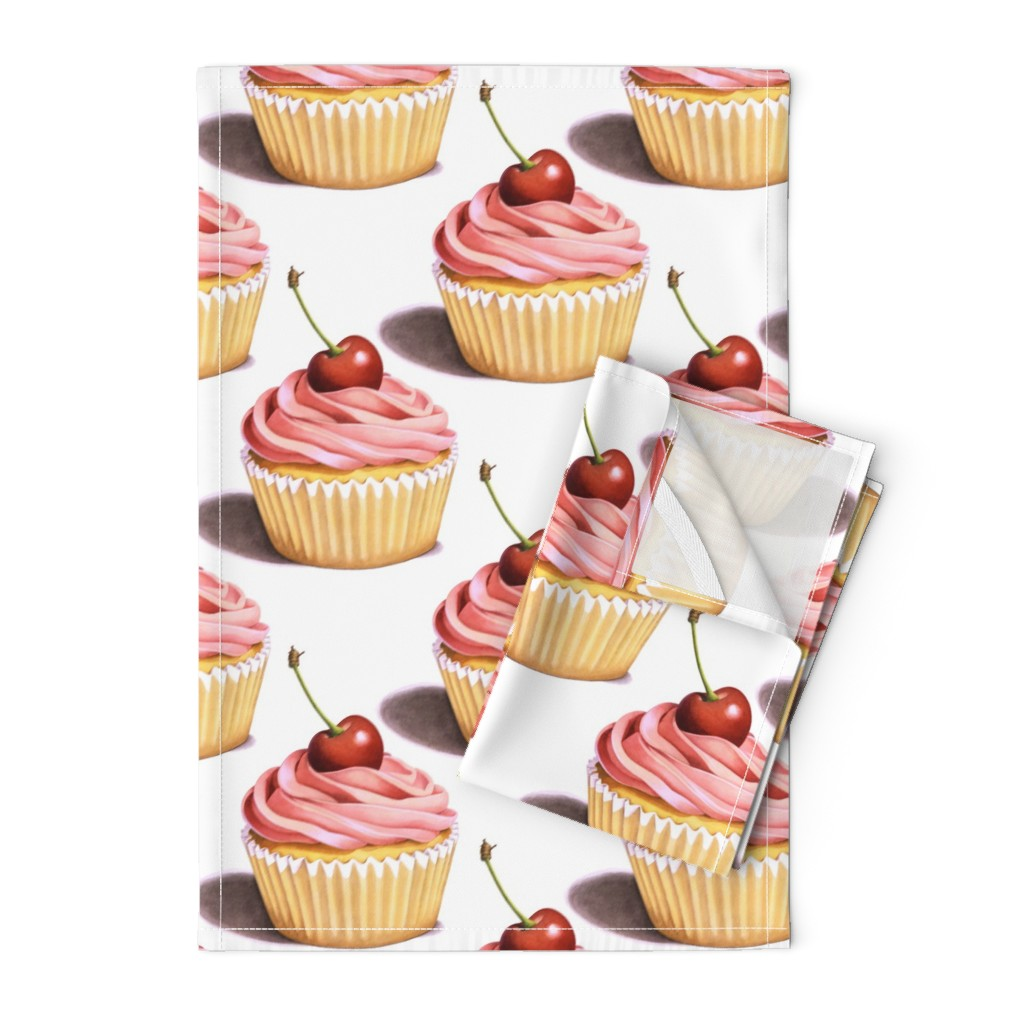 Orpington Tea Towels featuring Large Pink Cupcakes by patriciasheadesigns