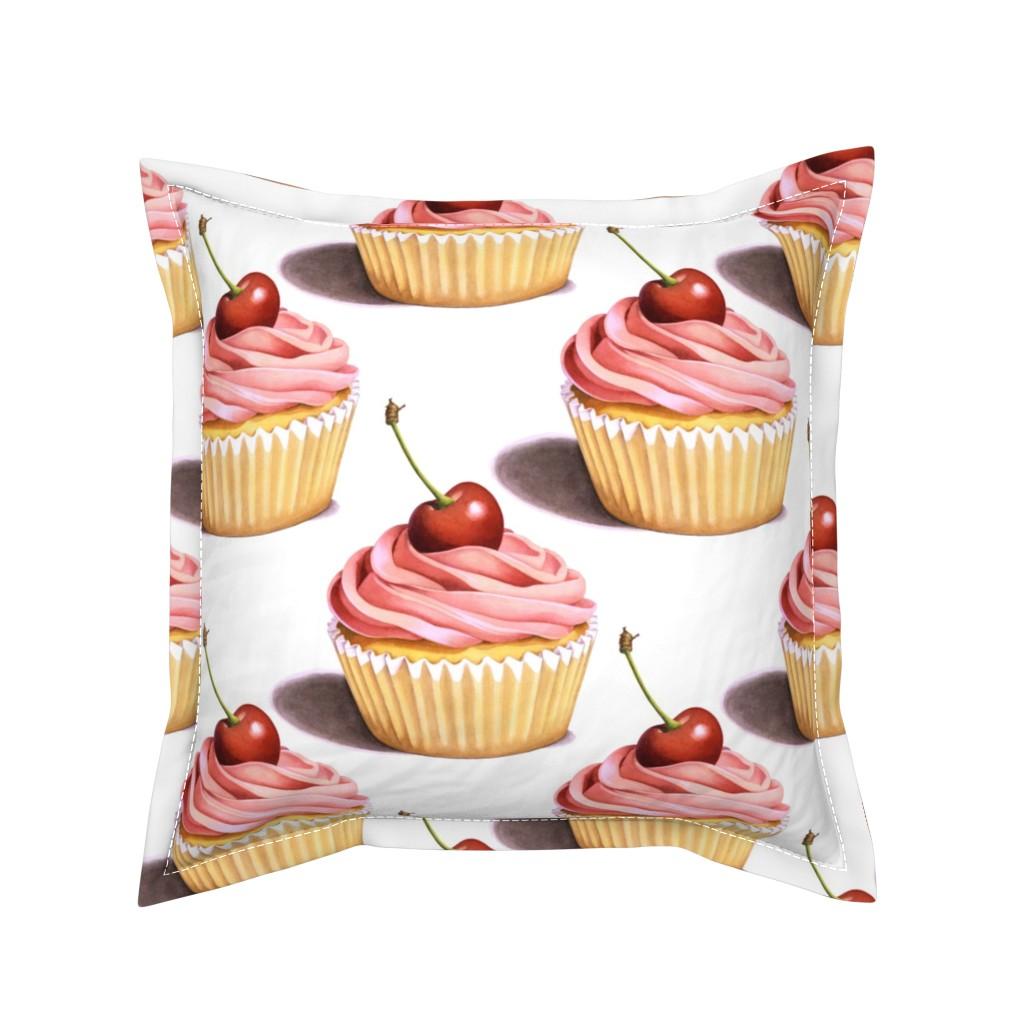 Serama Throw Pillow featuring Large Pink Cupcakes by patriciasheadesigns