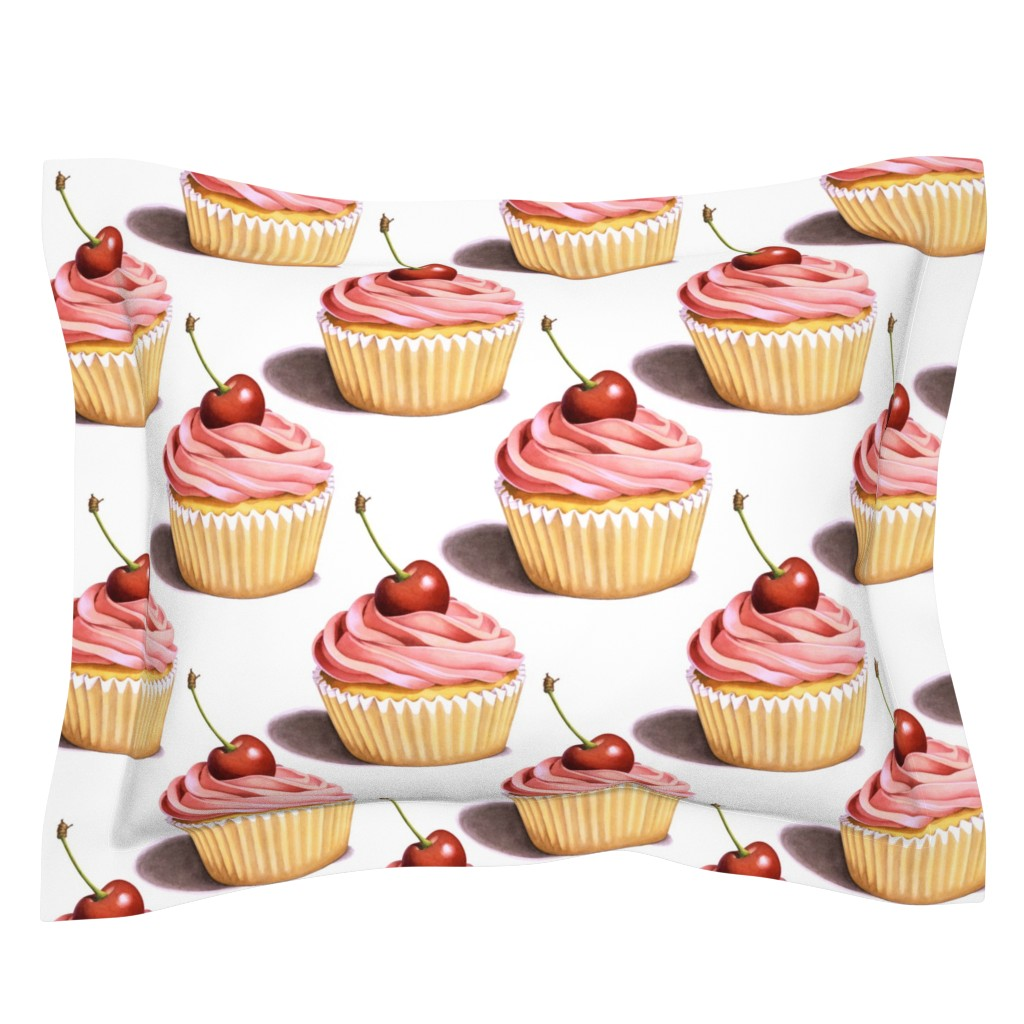 Sebright Pillow Sham featuring Large Pink Cupcakes by patriciasheadesigns