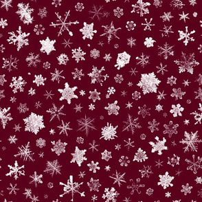 photographic snowflakes on burgundy (large snowflakes)