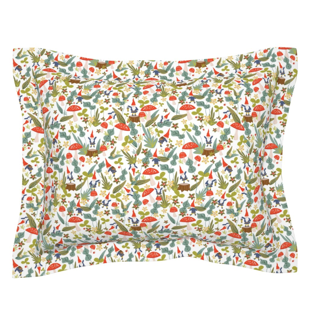 Sebright Pillow Sham featuring Woodland Gnomes (White) by shelbyallison