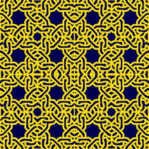 Yellow and Navy modern moroccan tile spanish tile mexican tile white on navy-ch