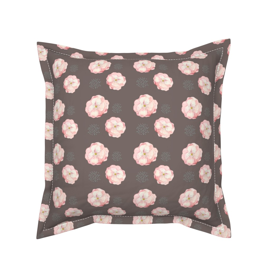Serama Throw Pillow featuring pretty in pink blossoms on brown by karenharveycox