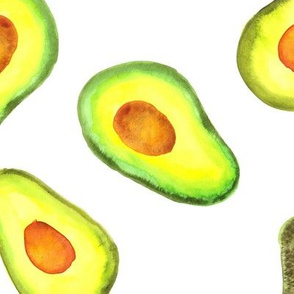 16-13C Watercolor Avocado Fruit Vegetable Green Yellow Forest Large Scale Jumbo Garden Food Tossed _ Miss Chiff Designs