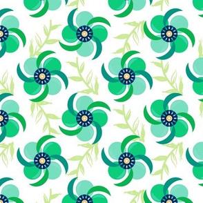 Pinwheel Flowers/TealGreen
