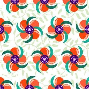 Pinwheel Flowers_Red & Orange