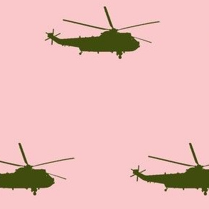 Helicopter: green on light pink