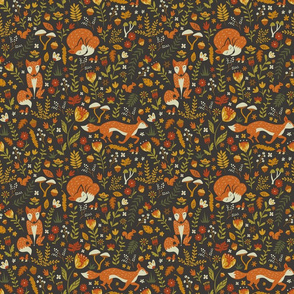 Foxes in a Fall Garden