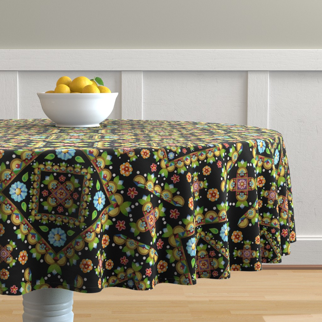 Malay Round Tablecloth featuring Cottage Garden Pretty by patriciasheadesigns