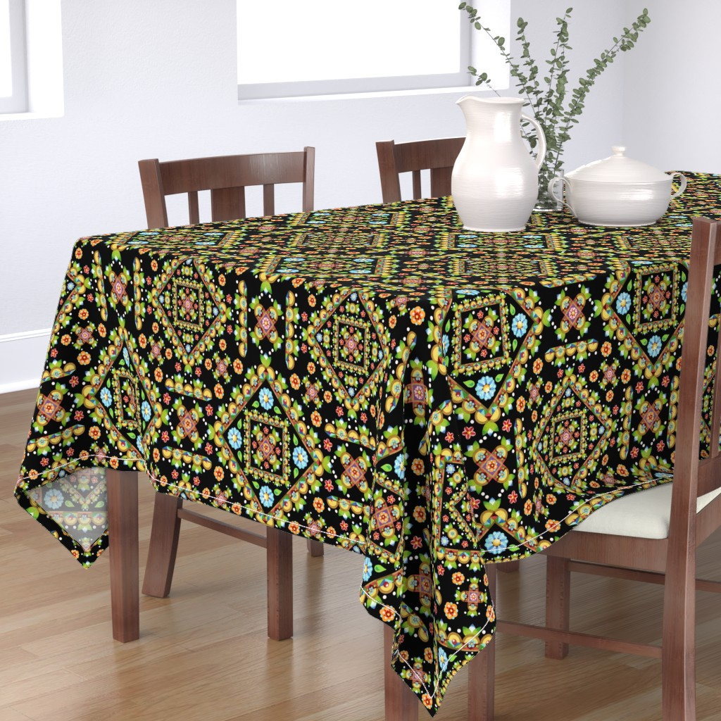 Bantam Rectangular Tablecloth featuring Cottage Garden Pretty by patriciasheadesigns