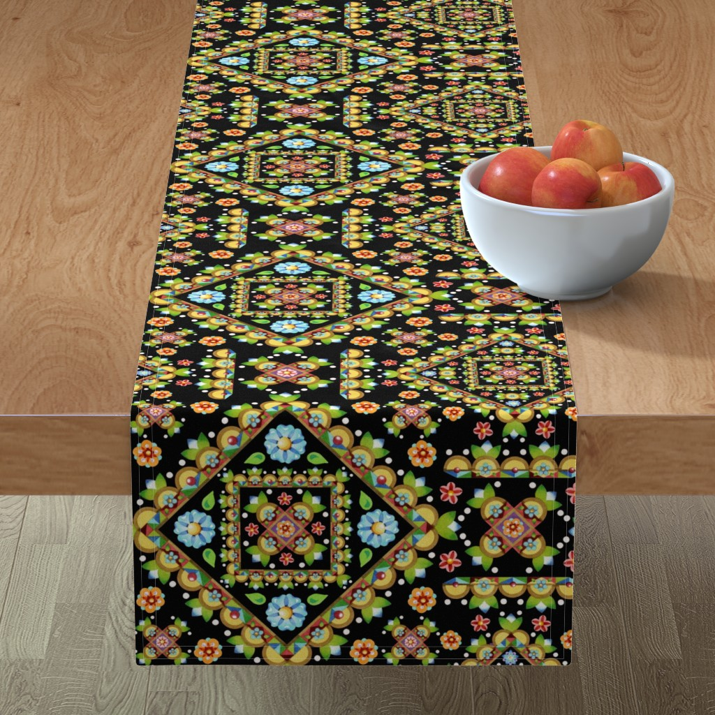 Minorca Table Runner featuring Cottage Garden Pretty by patriciasheadesigns