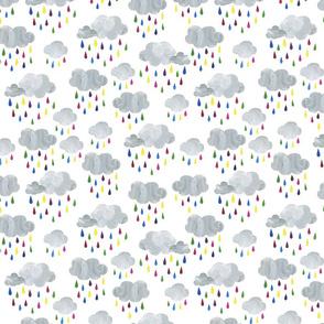 Rainbow Raindrops and Rain Clouds